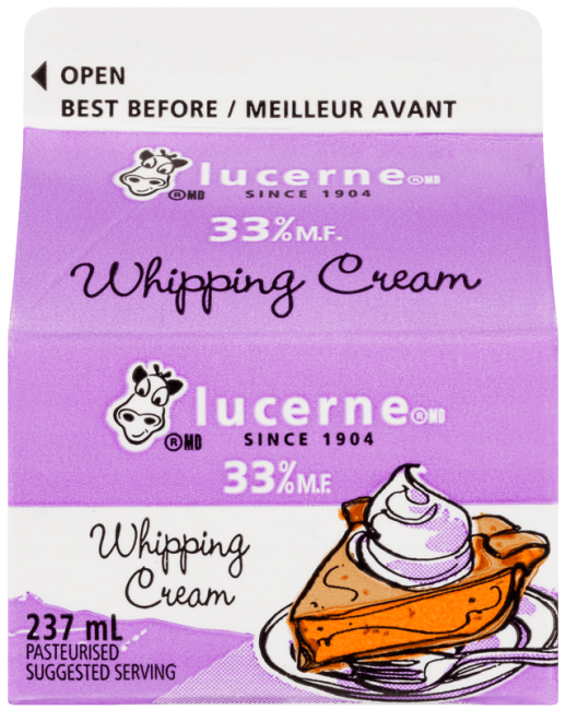 Lucerne 33% Whipping Cream 237 Milliliters