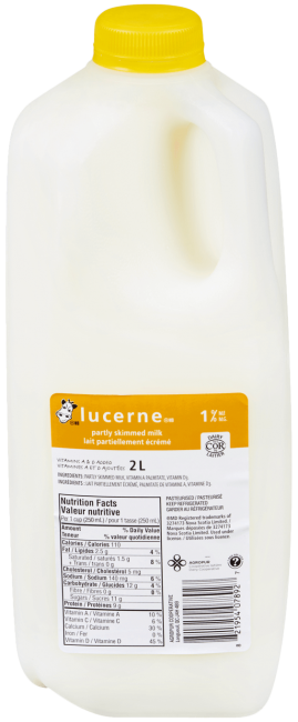 Lucerne 1% Partly Skimmed Milk 2 Liters Jug